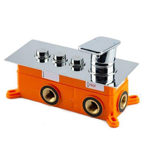 AquaMaxx Claudia falba süllyesztett 3 funkciós króm zuhany csaptelep, elburkolható box, kerámia csapbetét, réz csaptest, nyomógombos funkcióváltás