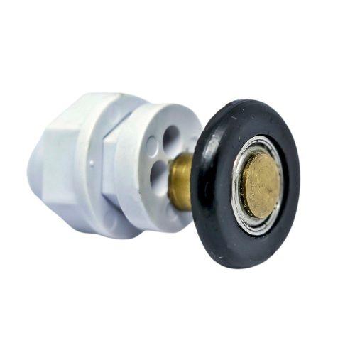 AquaMaxx szimpla kerekes zuhanykabin görgő, 16mm üvegfurat átmérővel, 21mm kerékátmérővel, rozsdamentes csapágyazott kerékkel