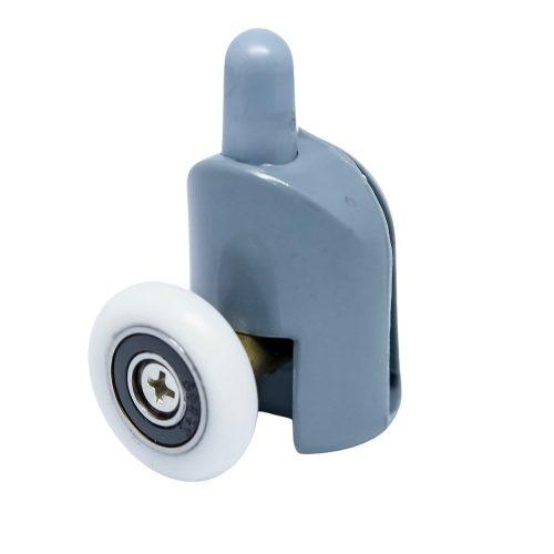 AquaMaxx szimpla kerekes alsó zuhanykabin görgő,  rugós beállítással nyomógombbal, 24mm kerékátmérő, nem rozsdamentes csapágyazott kerék