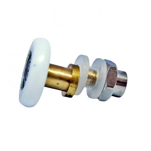 AquaMaxx szimpla kerekes zuhanykabin görgő, excenteres beállítás, 8mm üvegfurat, 17mm kerék-üveg távolság, 29mm kerékátmérő, rozsdamentes kerékkel is