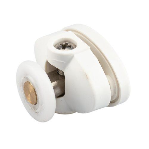 AquaMaxx felső szimpla zuhanykabin görgő, Beállítás csillagcsavar, 26,5mm furattávolság, 23mm kerékátmérő, 4mm széles kerék, rozsdamentes kerék