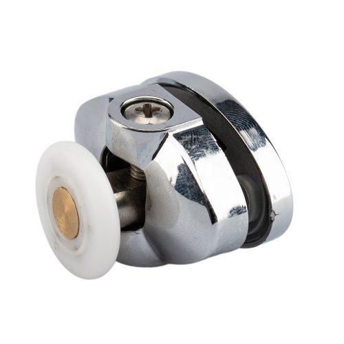AquaMaxx felső szimpla zuhanykabin görgő, Beállítás csillagcsavar, 26,5mm furattávolság, 25mm kerékátmérő, 4mm széles kerék, rozsdamentes kerék