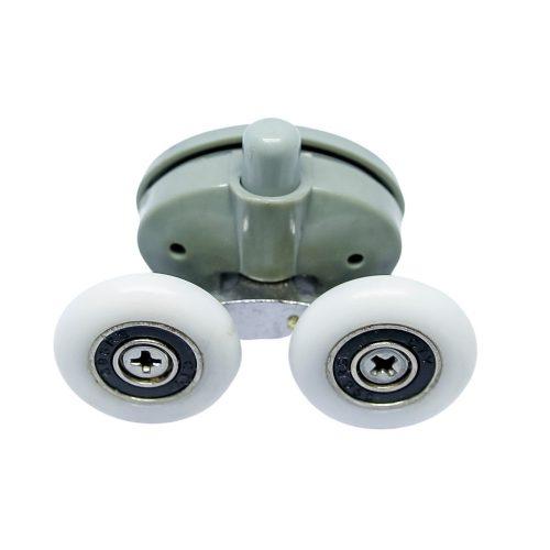 AquaMaxx alsó rugós dupla zuhanykabin görgő, 26,5mm a furatok távolság, 25mm kerékátmérő, 4mm kerékvastagság, nem rozsdamentes kerékkel