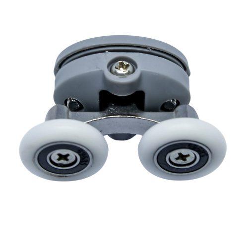 AquaMaxx felső dupla zuhanykabin görgő, beállítás csillagcsavar, 26,5mm furattávolság, 19mm kerékátmérő, 4mm széles kerék, rozsdamentes kerék is
