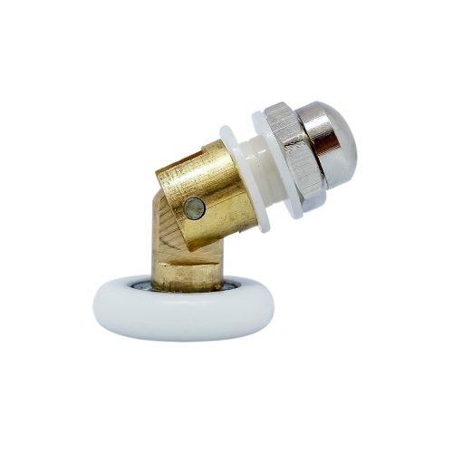 AquaMaxx csuklós szimpla zuhanykabin görgő, 20mm kerékátmérő, 8mm-10mm-12mm üvegfurat, Rozsdamentes és nem rozsdamentes kerékkel