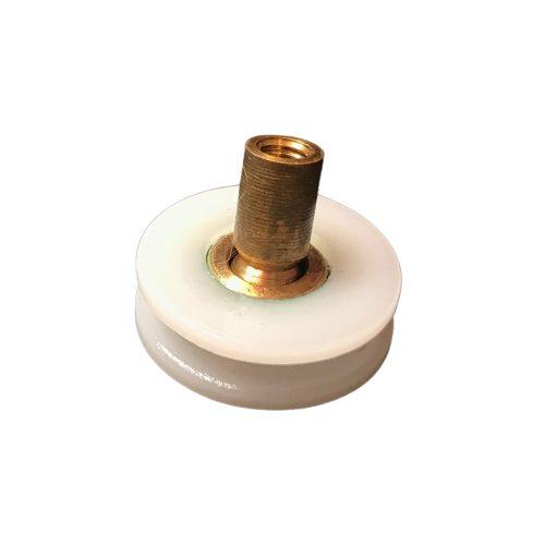 AquaMaxx vályús gömbcsuklós zuhanykabin görgő kerék, 19mm külső kerékátmérő, 14,8mm belső átmérő, rézcsonk szélesség 5,5mm, M4 csavar