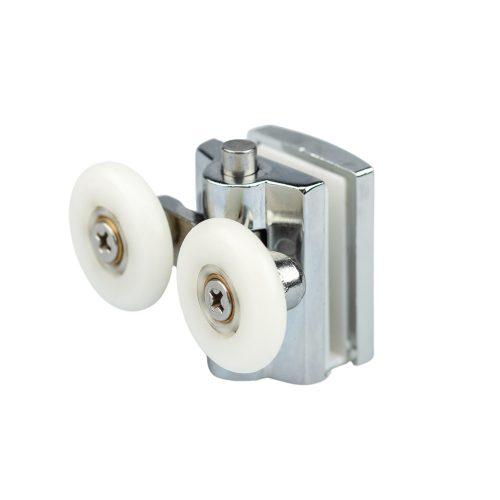 AquaMaxx dupla kerekes rugós alsó zuhanykabin görgő, nyomógombos beállítás, 22mm kerékátmérő, nem rozsdamentes kerékkel szerelve