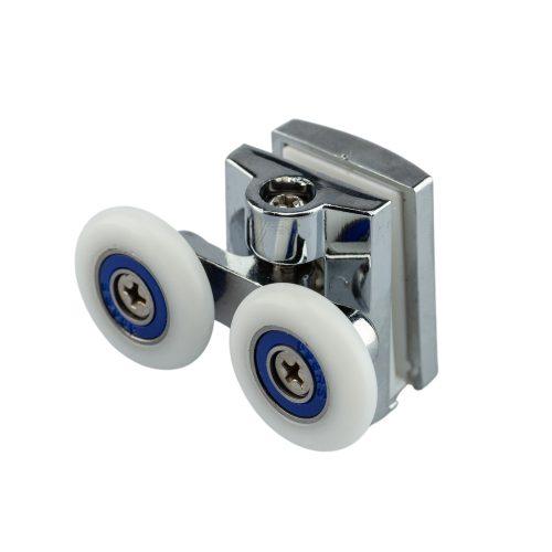 AquaMaxx dupla kerekes felső zuhanykabin görgő, csillagcsavaros beállítás, 19-27mm kerékátmérő, rozsdamentes és nem rozsdamentes kerékkel szerelve