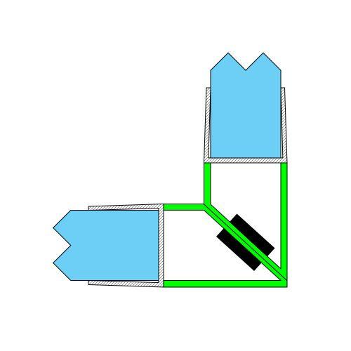 AquaMaxx zuhanykabin mágneszár 90 fokos kapcsolódás, 4mm üvegvastagsághoz